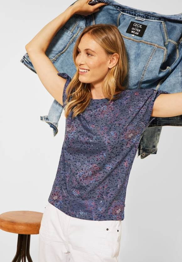 Cecil | T-Shirt mit Blumenmuster | Farbe: burn out deep blue 32612, 316608