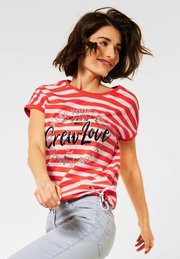 Cecil | T-Shirt mit Streifen Muster | Farbe: papaya orange 32661, 316050
