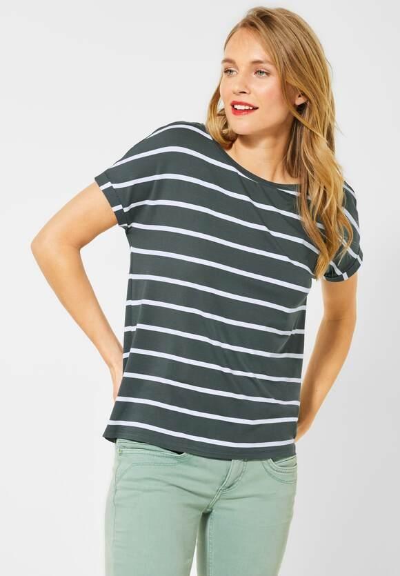 Street One | T-Shirt mit Streifenmuster | Farbe: comfort green 22283, 315425