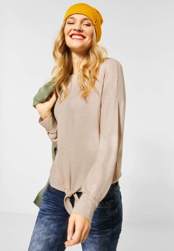 Street One | Softes Shirt mit Knoten | Farbe: almond cream mel 12683, 315683