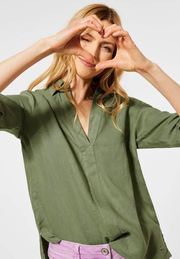 Cecil | Leinen Bluse in Unifarbe | Farbe: green herbs 12739, 342454