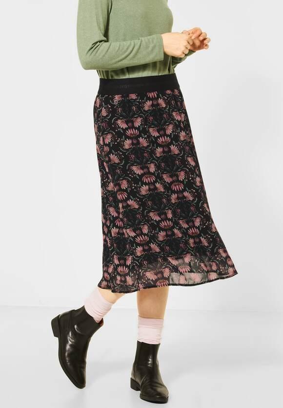Street One | Chiffon-Midirock mit Blumen | Farbe: black 30001, 360727