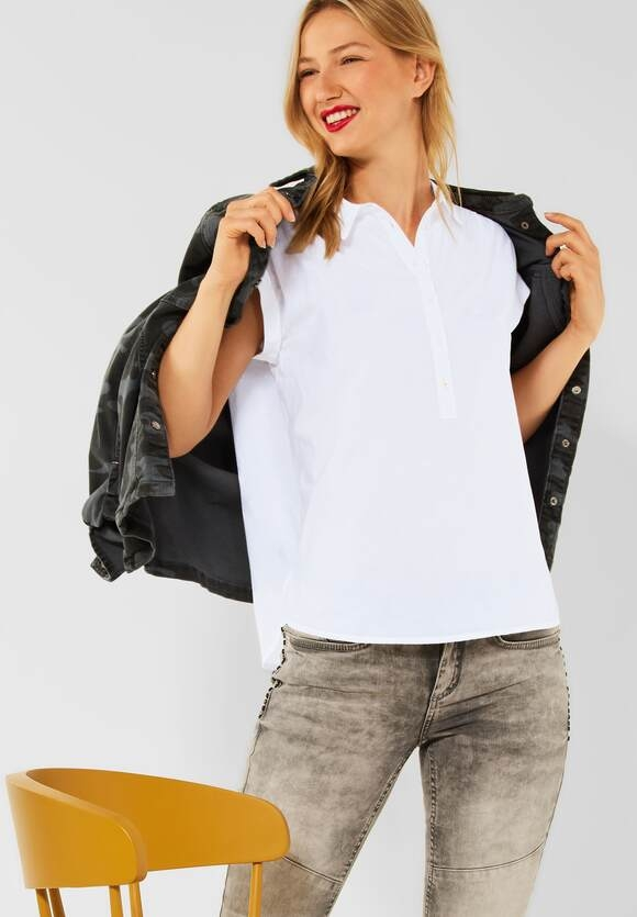 Street One | Unifarbene Hemd-Bluse | Farbe: white 10000, 342743