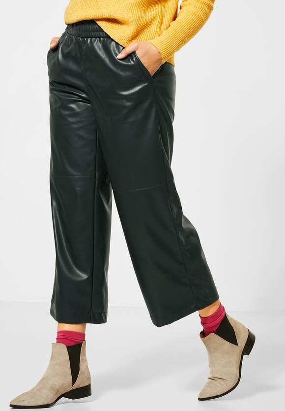 "Street One   Fake-Leder Wide-Leg Hose ""Emee""   Farbe: poly green 12580, 373520"