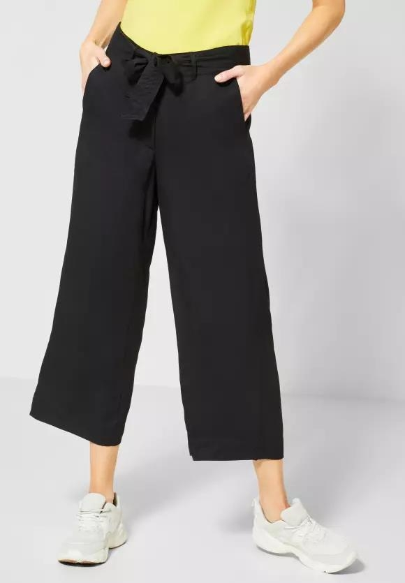 Cecil | Wide Leg Hose in Unifarbe | Farbe: black 10001, 372831