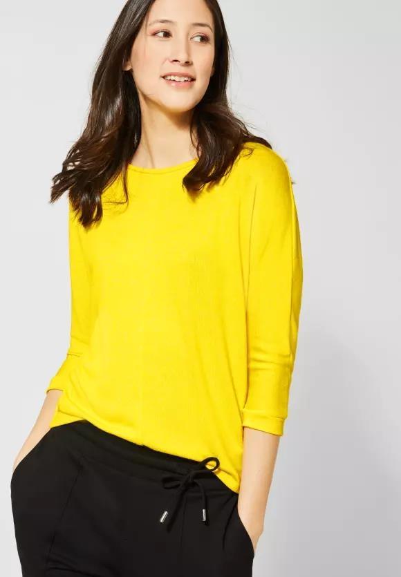 Street One I Basic Shirt mit U-Boot I Farbe: shiny yellow melange 12211, 314634