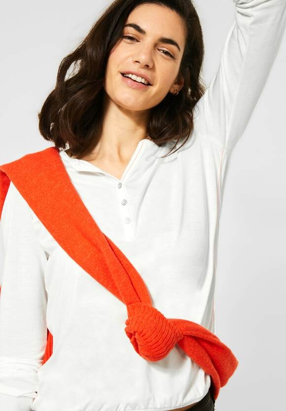 Cecil | Meliertes Shirt | Farbe: pure off white 10125, 315609
