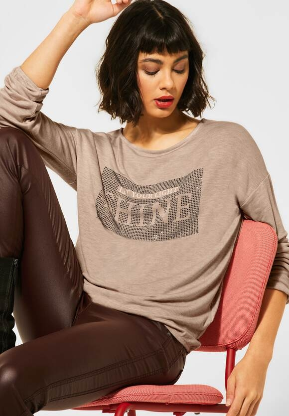 Street One | Shirt mit Strass-Print | Farbe: almond cream melange 32683, 315693