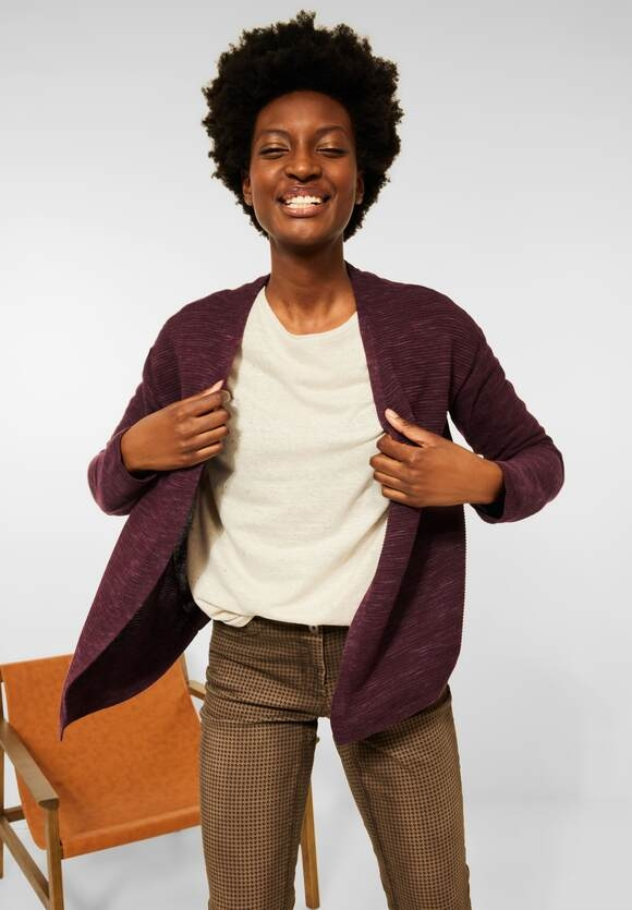 CECIL   Offener Melange Cardigan   Farbe: red grape heather 13515, 253250