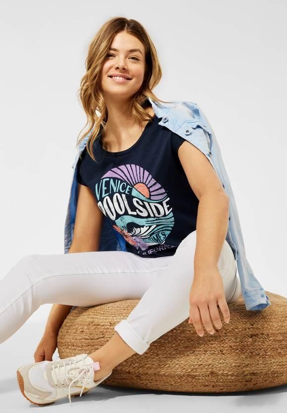 Cecil | T-Shirt mit Partprint | Farbe: deep blue 30128, 316347