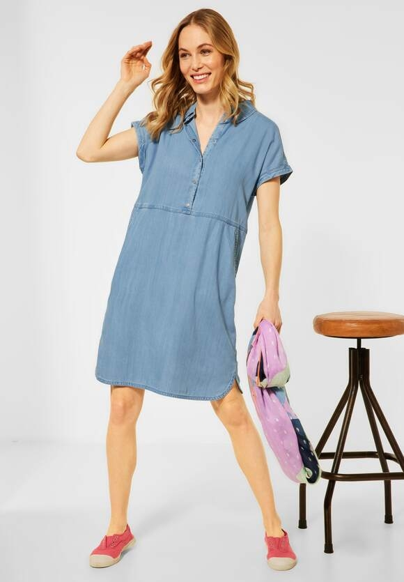 Cecil | Kleid in Lyocell | Farbe: light blue wash 12413, 142921