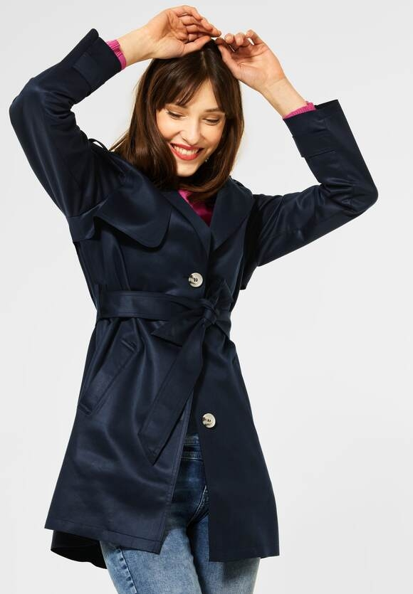 Street One | Trench Coat in Fake Velours | Farbe: deep blue 11238, 201562