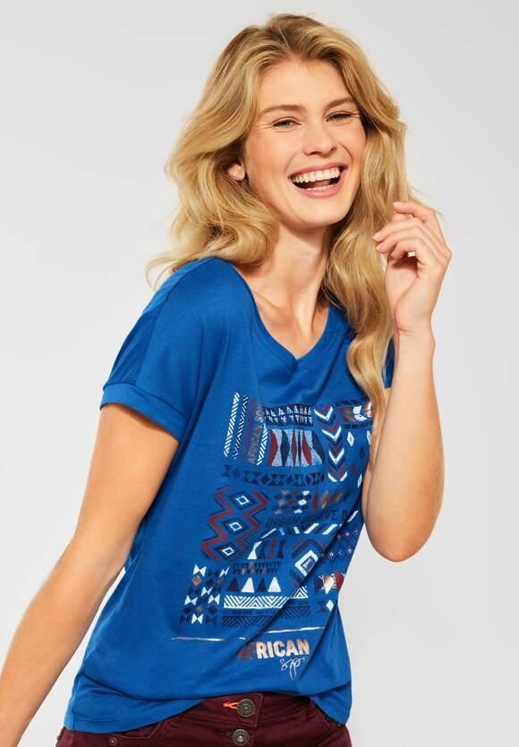 Cecil   T-Shirt mit Ethno-Print   Farbe: lake blue 33090, 316611