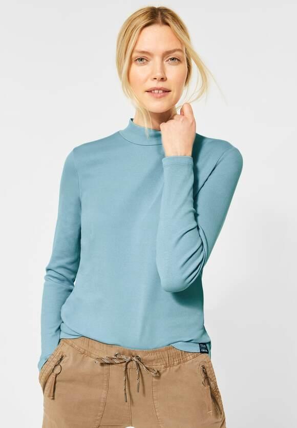 Cecil | Ripp-Shirt im Basic-Style | Farbe: sporty sky blue 12593, 315650