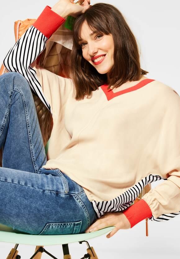 Street One | Shirt mit V-Ausschnitt | Farbe: bright sand 32855, 315973
