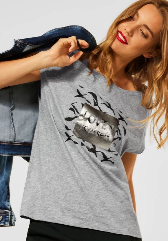 Street One   T-Shirt mit Wording   Farbe: pebble grey melange 32970, 316792