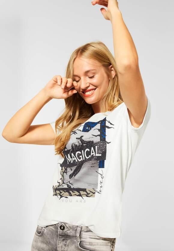 Street One | T-Shirt mit Partprint | Farbe: off white 30108, 316795