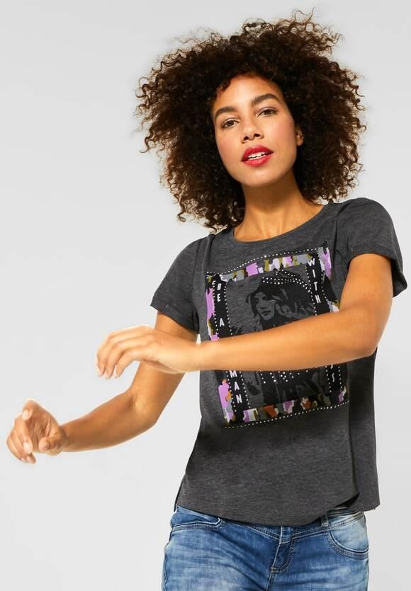 Street One | T-Shirt mit Frontprint | Farbe: prime anthracite mel 32448, 315267