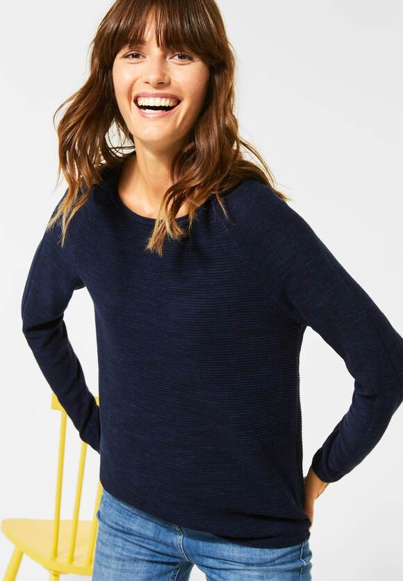 Cecil | Ripp-Pullover in Melange | Farbe: deep blue heather mel 11945, 301275