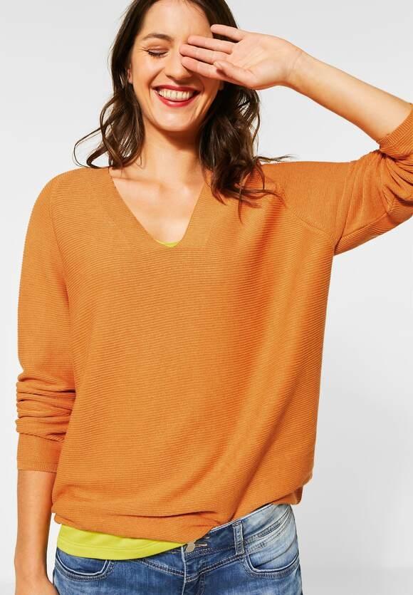 Street One | Pullover mit Rippstruktur | Farbe: soft foxy caramel 12446, 301259