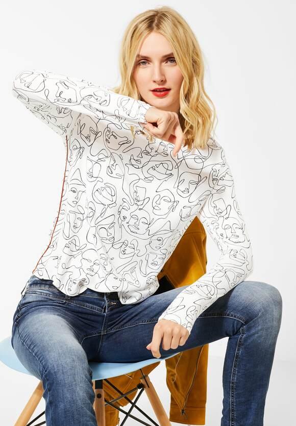 Street One | Langarmshirt mit Muster | Farbe: off white 20108, 315272