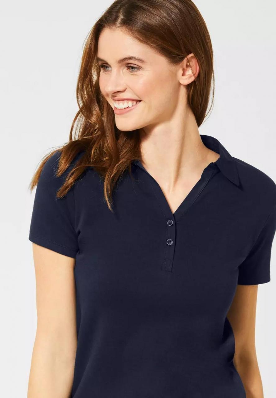Cecil | Polo-Shirt in Unifarbe | Farbe: deep blue 10128, 313339