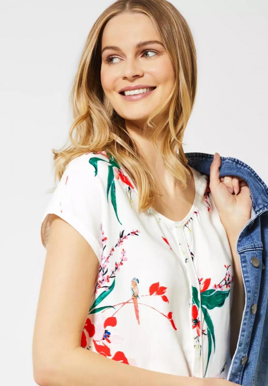 Cecil | T-Shirt mit Blumenmuster | Farbe: light alabaster white 32259, 314915