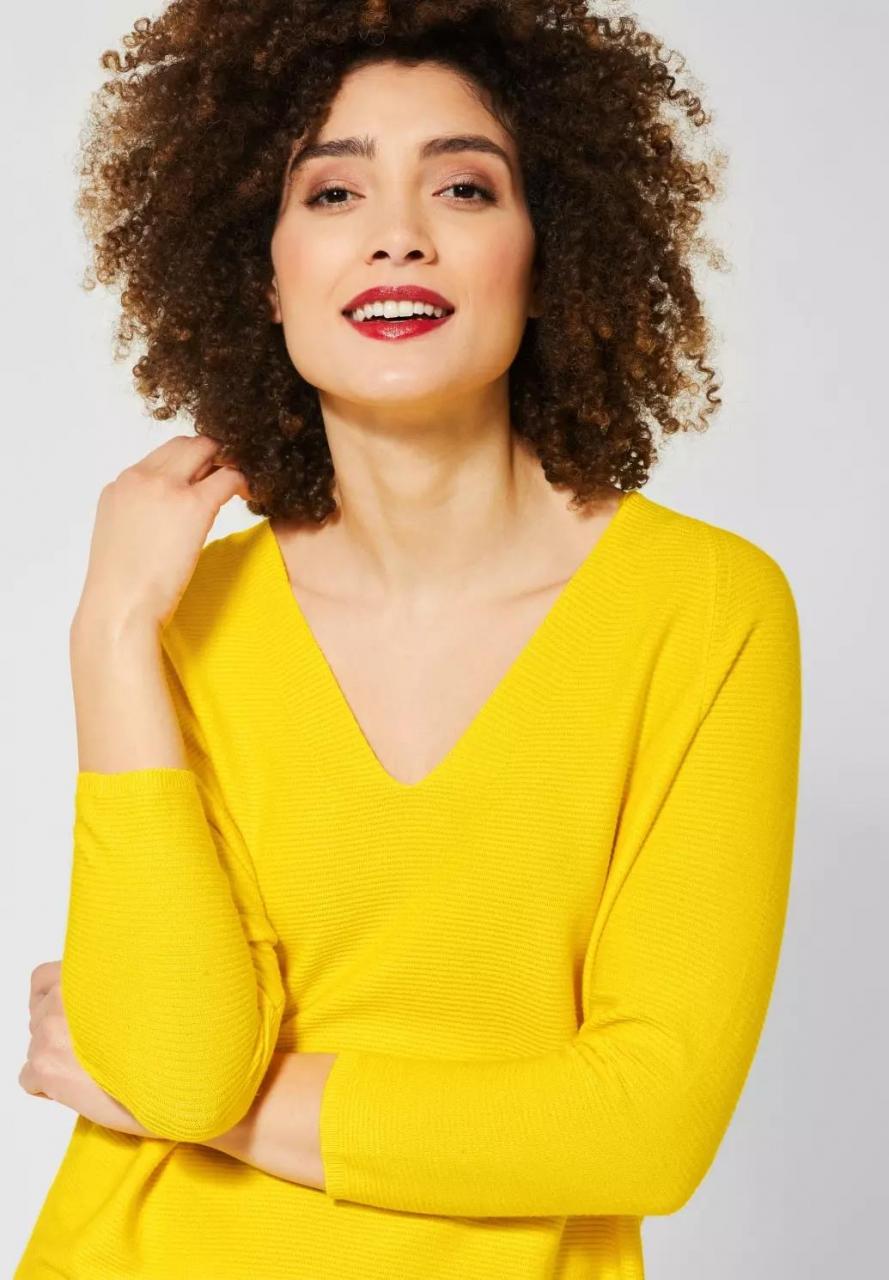 Street One   Pullover mit V-Ausschnitt   Farbe: shiny yellow 12201, 301233