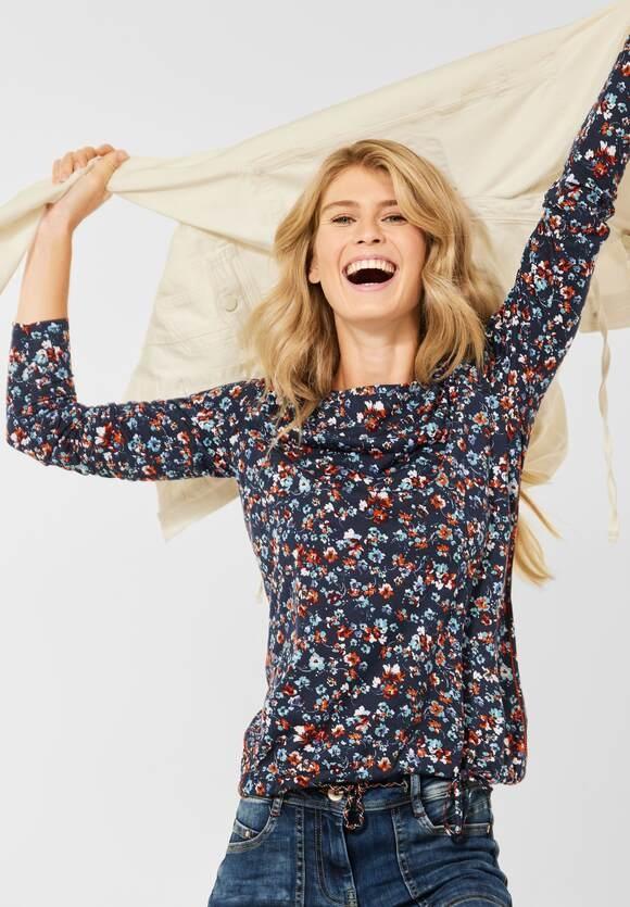 CECIL | Shirt mit Blumen Muster | Farbe: deep blue 30128, 316927