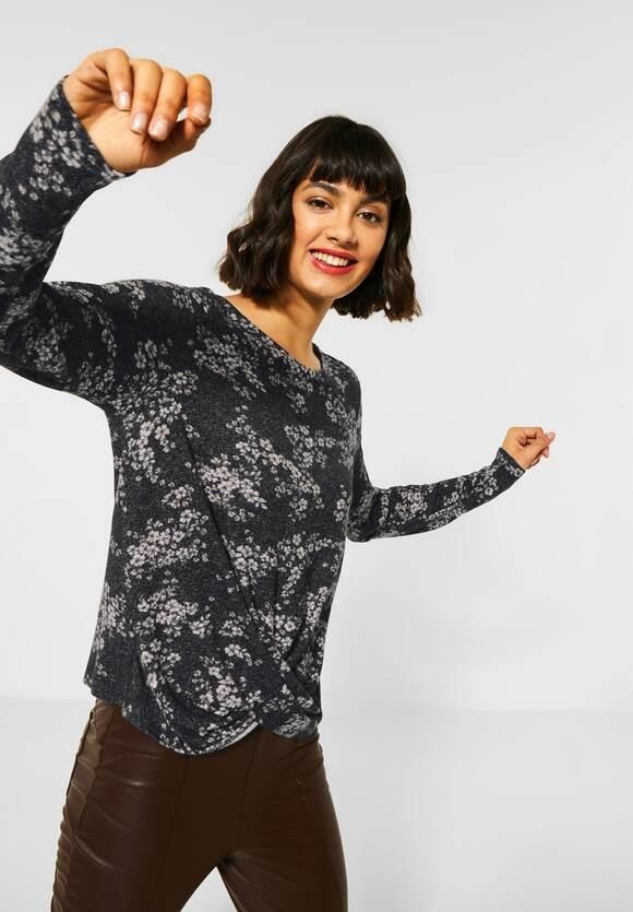 Street One   Blumen-Shirt mit Knoten   Farbe: black 30001, 315682