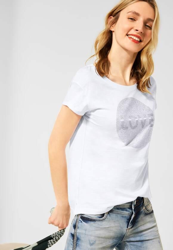 Street One   T-Shirt mit Steinchen-Deko   Farbe: white 30000, 316416