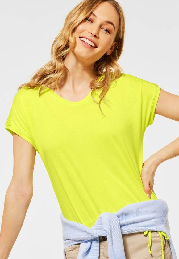 Cecil | Shirt mit Smok-Details | Farbe: sunny lime 13035, 316035