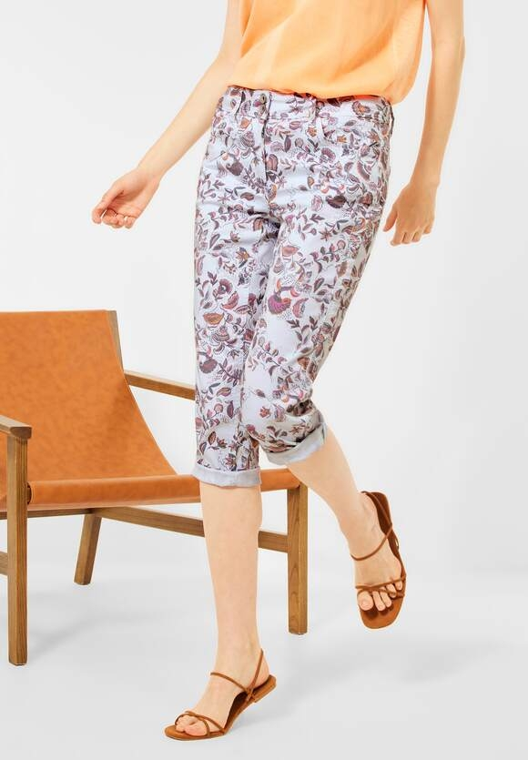Cecil | Casual Fit Hose in Paisley | Farbe: white 30000, 374013