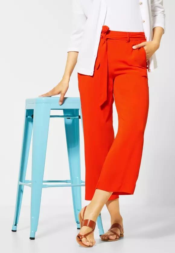 "Street One | Wide Leg Hose mit Gürtel ""Emee"" | Farbe: cheeky red 12333, 373197"