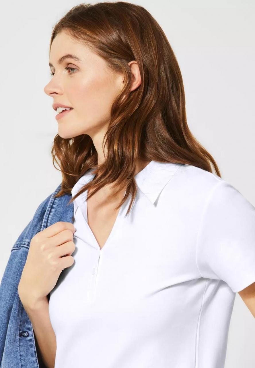 Cecil | Polo-Shirt in Unifarbe | Farbe: white 10000, 313339