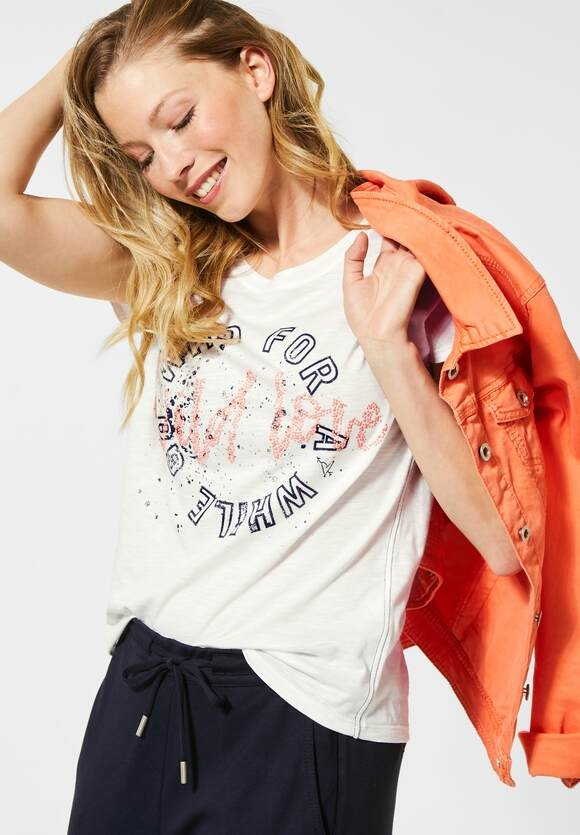 Cecil | T-Shirt mit Frontprint | Farbe: pure off white 30125, 315244