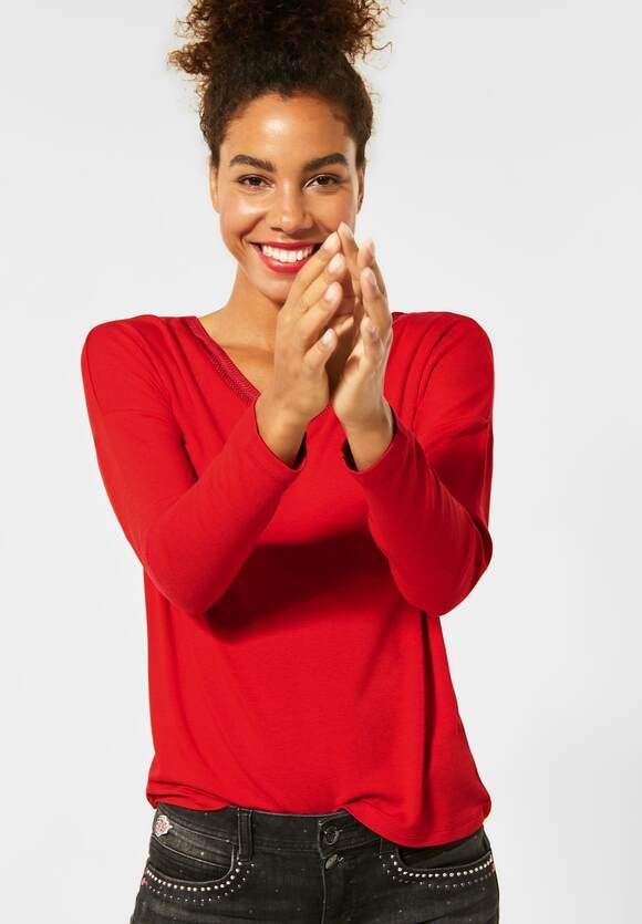 Street One | Shirt mit Strick am V-Neck | Farbe: blazing red 12509, 315388
