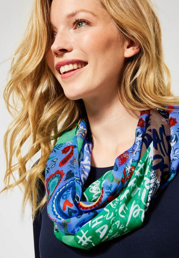 Cecil | Loop mit Patchwork-Design | Farbe: deep blue 30128, 571310