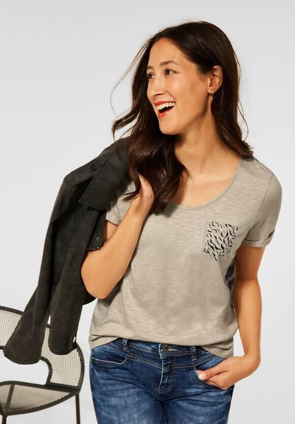 Street One | T-Shirt mit Print Tasche | Farbe: shiny sand 23175, 316775