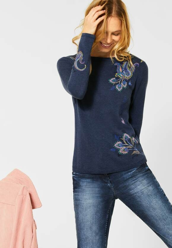 Cecil   Pullover mit Paisley-Design   Farbe: middle blue mel 32581, 301337
