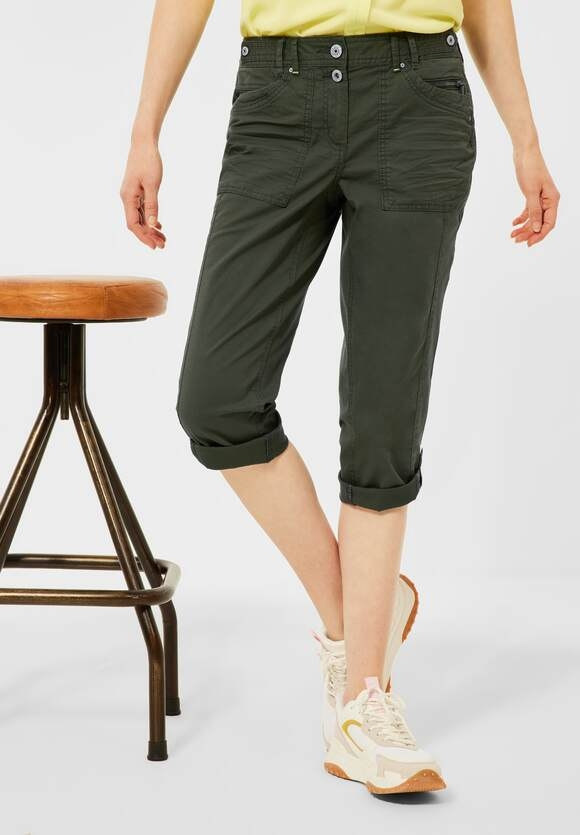 Cecil | Casual Fit Hose in Inch 22 | Farbe: utility olive 13036, 374081