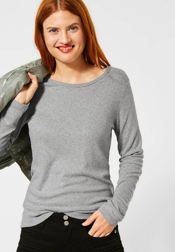 Street One | Softes Feinripp-Shirt | Farbe: city grey melange 12480, 315488