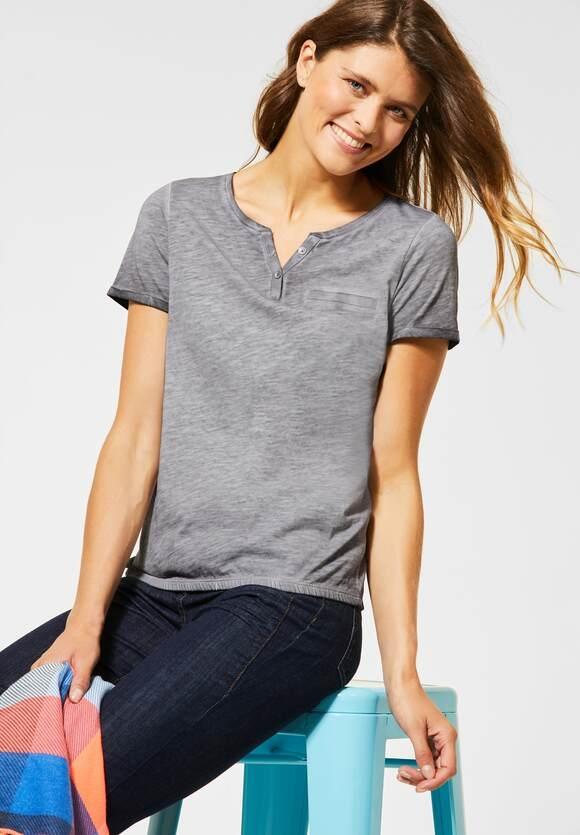 Cecil | T-Shirt mit Flammgarn | Farbe: graphite light grey 10498, 315312