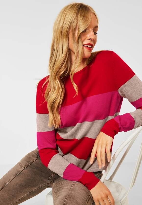 Street One   Pullover mit Streifen Muster   Farbe: full red 33319, 301589