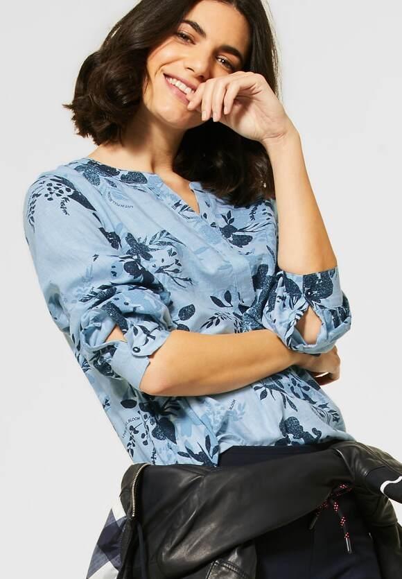 Cecil | Bluse mit Blumen-Print | Farbe: blue melange 32756, 342357