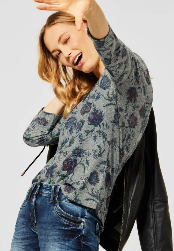 Cecil | Cosy Shirt mit Blumenmuster | Farbe: soft khaki mel 32750, 315781