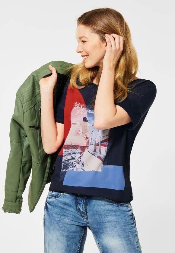 Cecil   T-Shirt mit Frontprint   Farbe: deep blue 30128, 316044