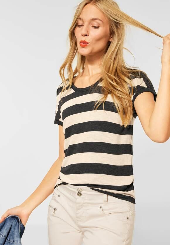 Street One | Shirt mit geraffter Schulter | Farbe: anthracite mel. 21498, 316762