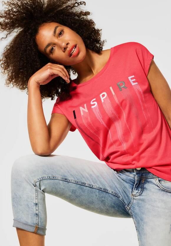 Street One | T-Shirt mit Stickerei | Farbe: red fury 32991, 316276