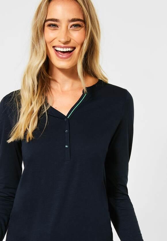 Cecil | Unifarbenes Shirt | Farbe: deep blue 10128, 315459